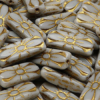 4pcs Czech Pressed Glass Rectangular Beads with Floral Motif 20x8mm Opaque Gray Golden Fired Color