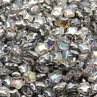 25pcs Czech Pressed Glass Star Beads 6mm Crystal Silver Rainbow