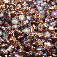 25pcs Czech Pressed Glass Star Beads 6mm Crystal Copper Rainbow