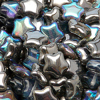 6pcs Czech Pressed Glass Star Beads 12mm Crystal Graphite Rainbow