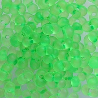 Czech Farfalle Beads Neon Green Transparent Matte / PF1-38756