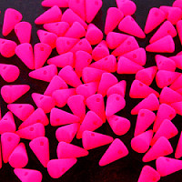 20pcs Czech Pressed Glass Spike Beads 5x8mm Pink Neon