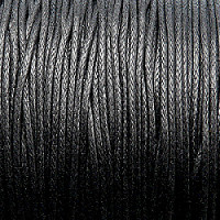 1m Waxed Cotton Cord, 1,0mm, Black