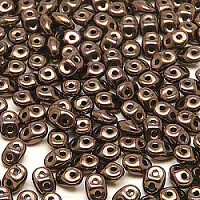 50pcs Czech Glass Two-Hole Seed Beads SuperDuo 2.5x5mm Jet Bronze Luster