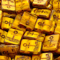 "2pcs Czech Pressed Glass Table Cut Flat Rectangle ""ANCHOR DESIGN\"" Beads 18x12mm Yellow Moonlight"